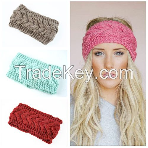 Factory direct-selling girl knitted elastic hairband winter