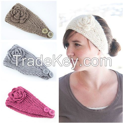 Custom winter headband ladies handmade headband with flower