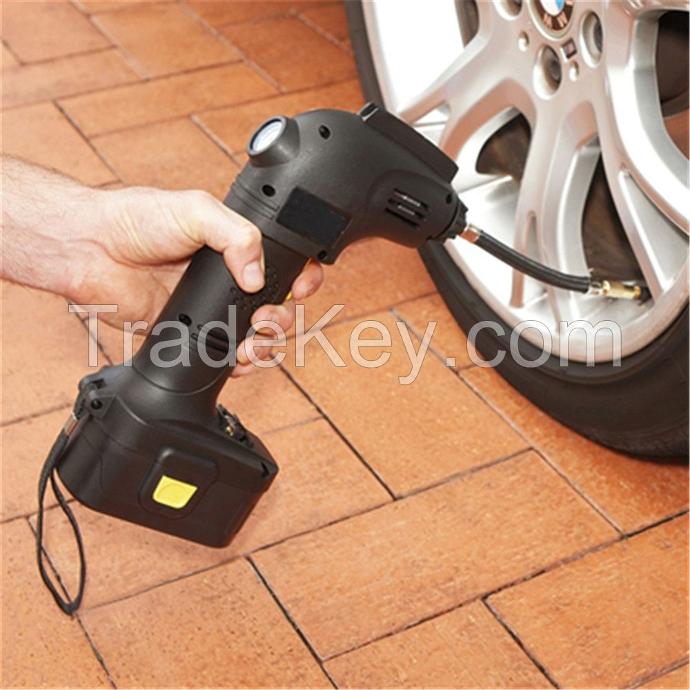 Portable electric car tyre inflator pump / 12v rechargeable cordless air compressor