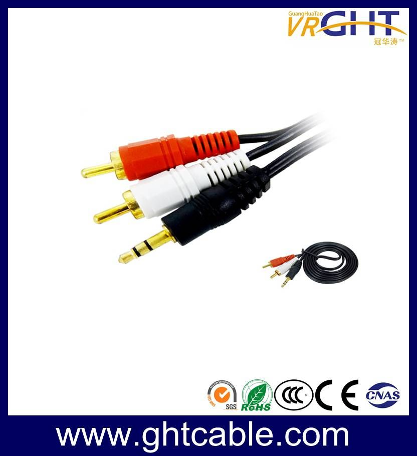 1.5m 3.5mm-2RCA Male to Male Audio Cable Splitter Cable