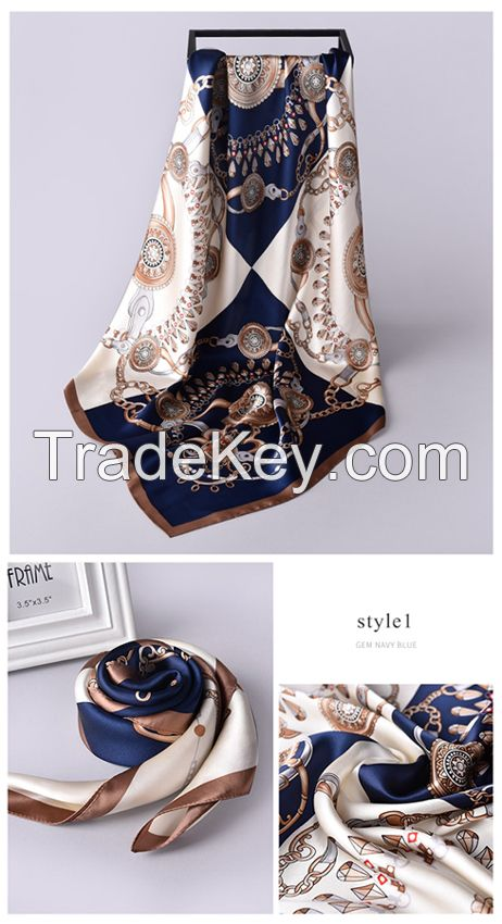 Scarf factory 90 x 90cm custom printed silk scarves ladies chain pattern pure silk square scarf