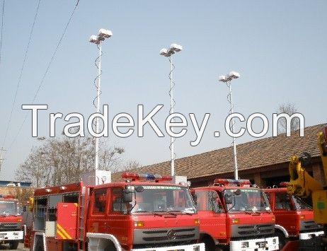 300w 12v high mast mobile led light tower, LED bulb,40000lm,pneumatic mast