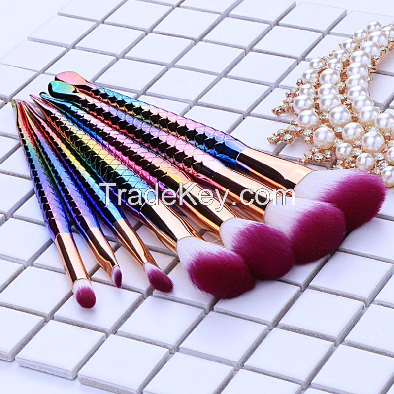Mermaid Makeup Brushes 7PCS Make Up Foundation Eyebrow Eyeliner Blush Cosmetic Concealer Brush