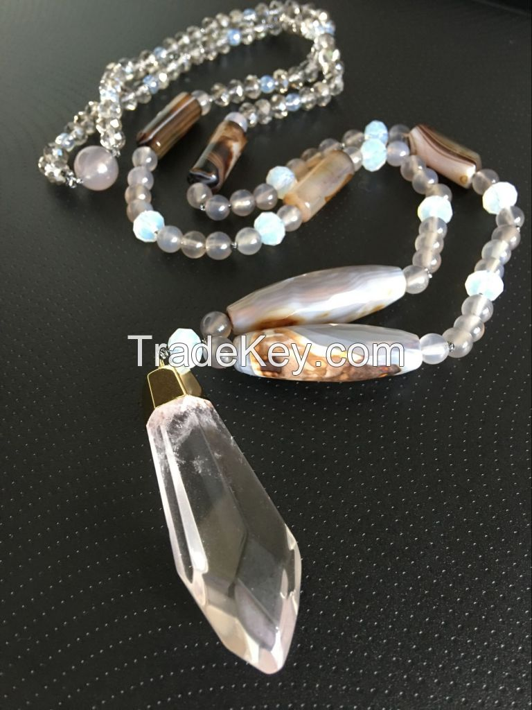 Fashion jewellery semi-gemstone Crystal Agate Necklace by handmade