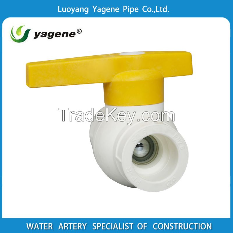 PPR butterfly control ball valve with brass ball