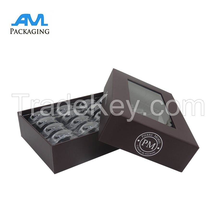 China manufacturer clolorful chocolate lid off box with  plastic PVC insert