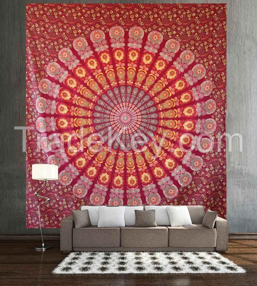 Red mandala wall hanging tapestry