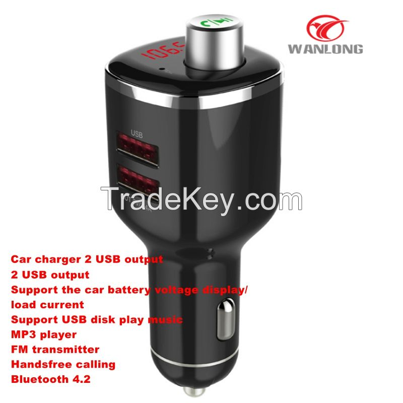 3 in 1 bluetooth carkit 2 USB car charger bluetooth 4.0 with FM transmitter , handsfree calling, multi-function car charger support TF card