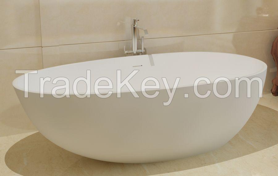 Solid surface Tub Freestanding floor mount Bathtub