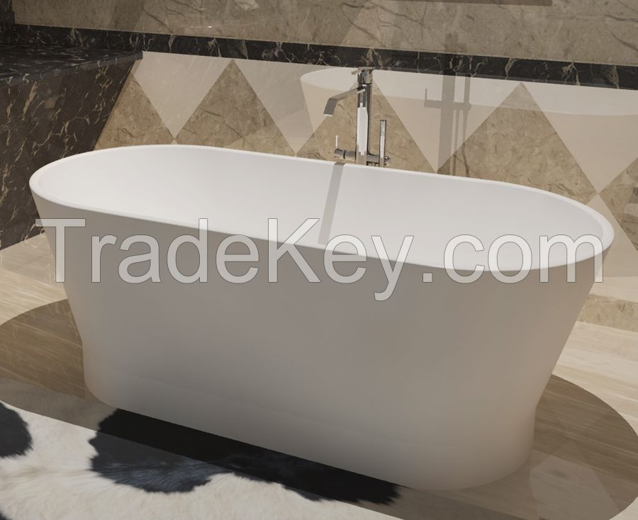 Solid surface Bathtub Poly Marble Freestanding floor mount Resin Tub