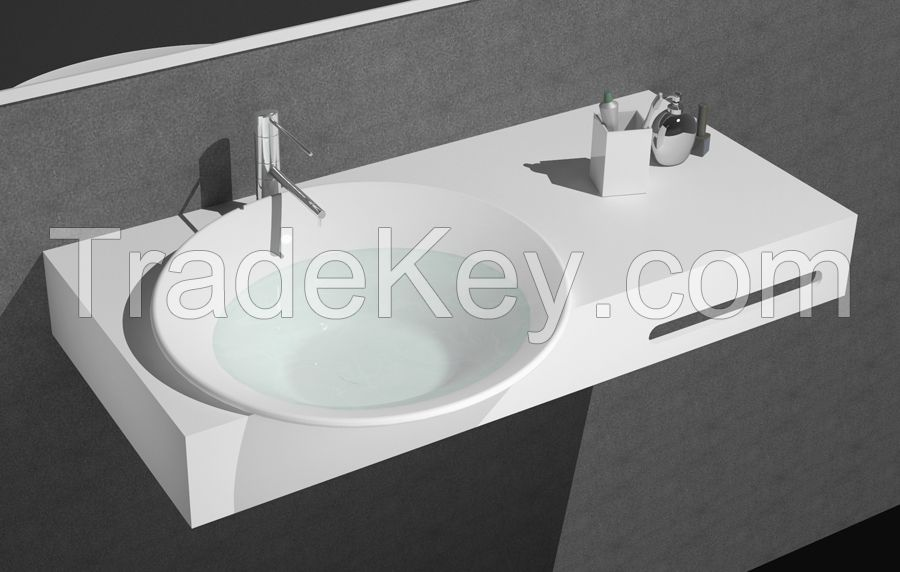 Solid surface Wash Basin Top Wall mount Man-made stone sink with towel rack
