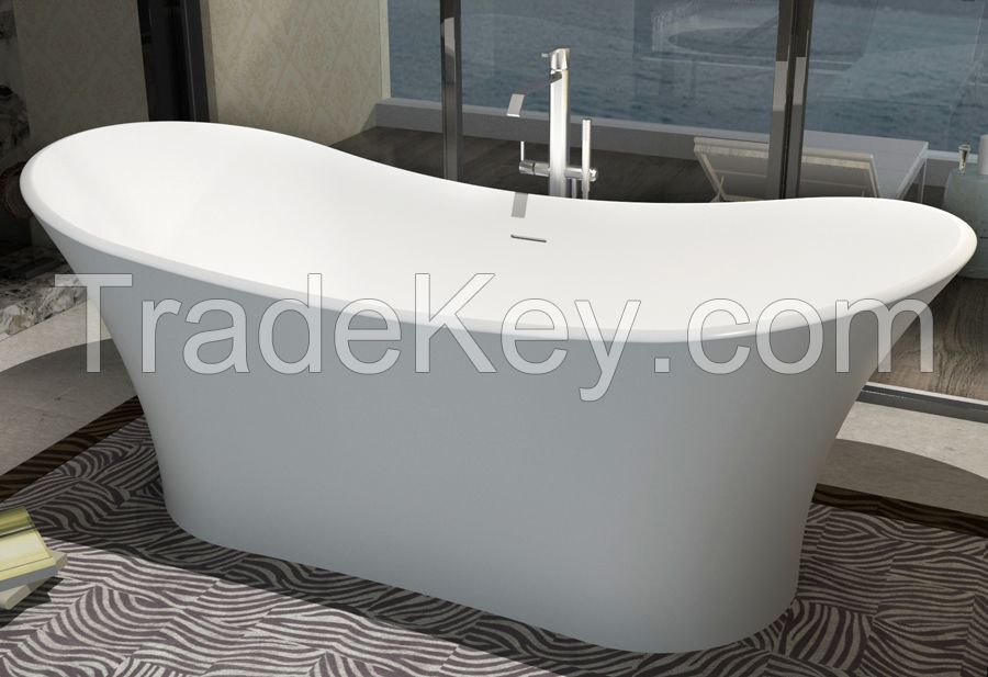 Artificial stone bathtub Freestanding Resin solid surface Tub