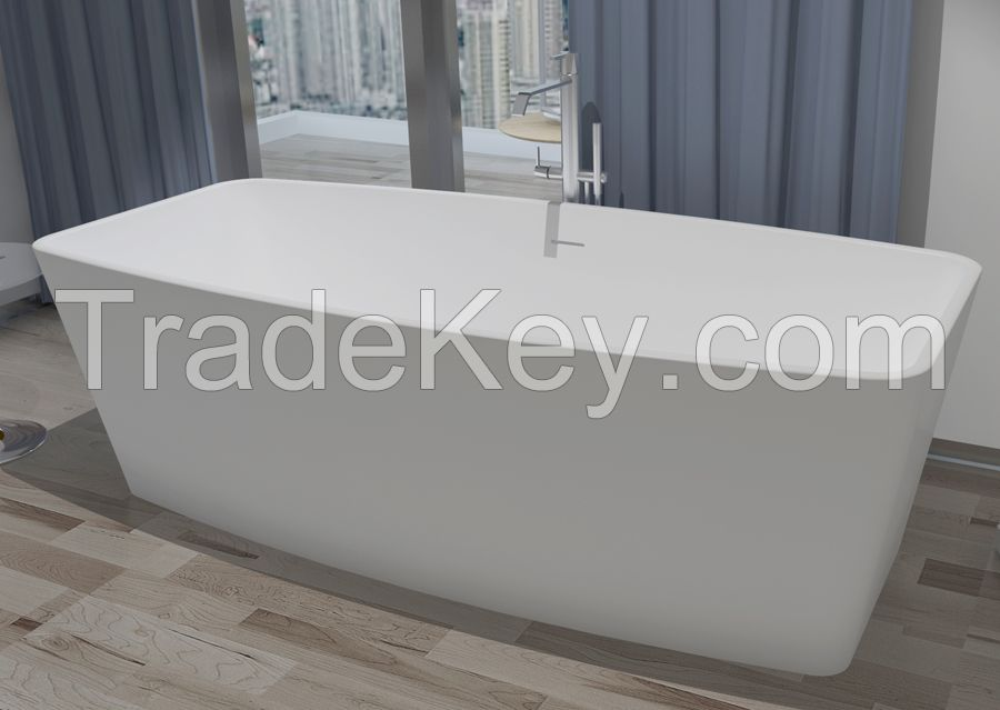 Artificial stone bathtub Solid surface Tub Freestanding floor mount  Resin