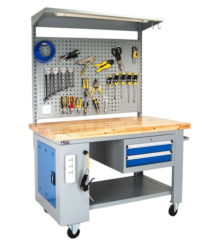 SanJi-First Mobile workbench 32mm Wood tabletop drawer 3.94 in *2  blue+gray+Red  Bearing A (tabletop optional,Can be customized)