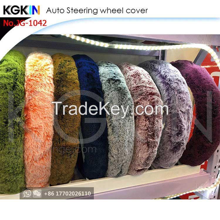 Kgkin Universal Car Steering Wheel Cover Fur Material