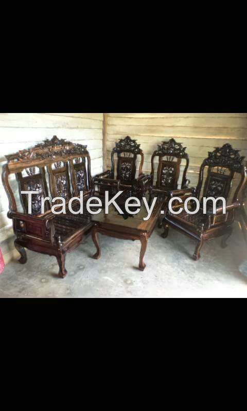 Ebony Wood Chair and Table Set