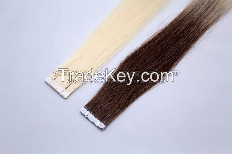 High Quality Color PU Tape Human Hair Tape-In Extensions 100% Human Hair Remy PU Tape