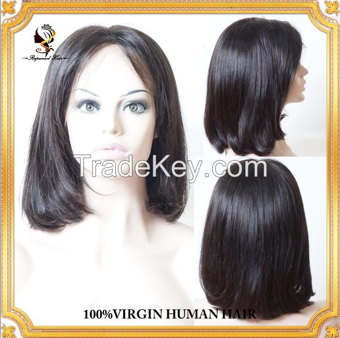 Hot sale14inch #1B natural black Bob wig 100 brazilian human hair virgin hair full lace wigs