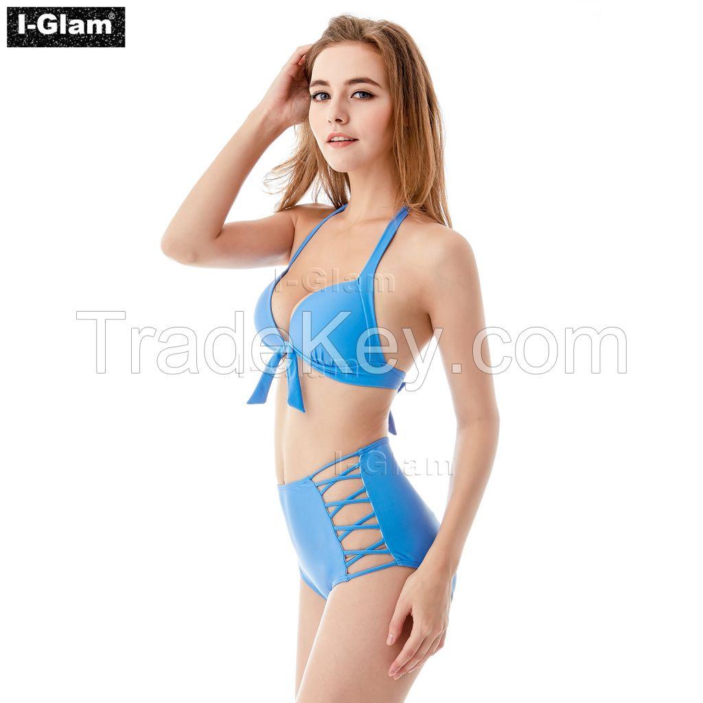 I-Glam Blue High Waist Sexy Bikini Swimwear
