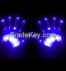 GLOWCRAZE PORTABLE READY TO LED LIGHT SKELETON HAND GLOVES