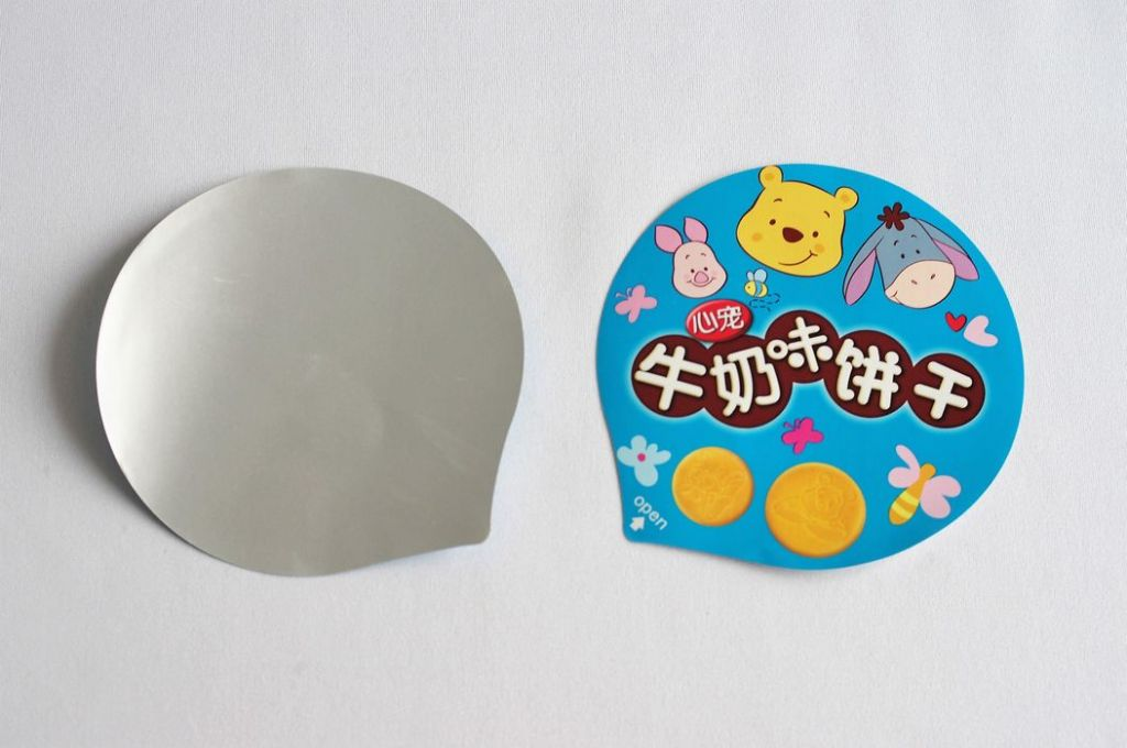 Finger biscuit cup, chocolate bar cup top lidding film, in single sheet
