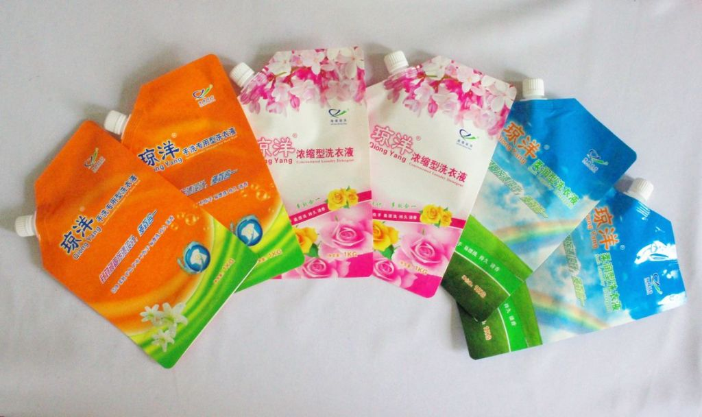 Liquid soap, lotion, shampoo, shower cream supplement packaging stand up spout pouch