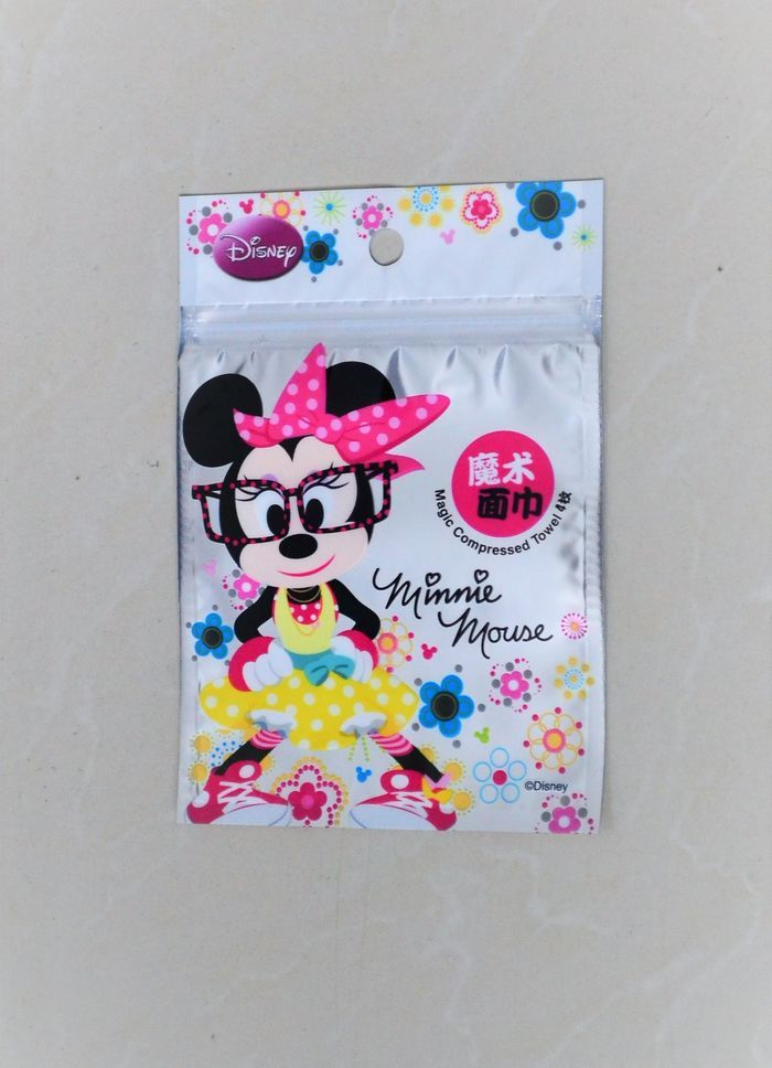 Magic compressed towel individual pack silver-back-clear-front zipper pouch