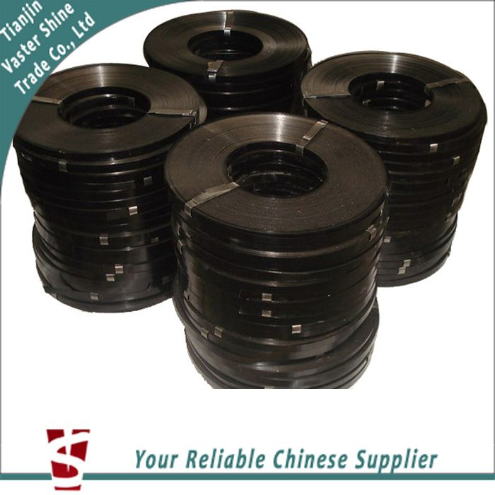 12.7mm 19mm 32mm Ribbon High strength regular duty Black Painted and waxed Steel Strapping for Packing