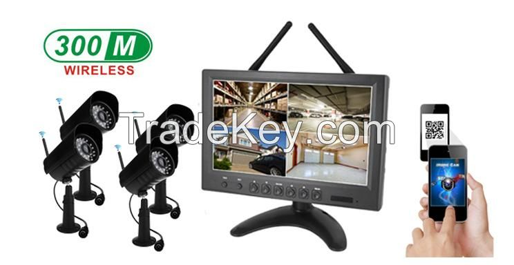 9inch Wireless LCD DVR With 1.0 megapixel Wireless Outdoor Cameras CCTV System