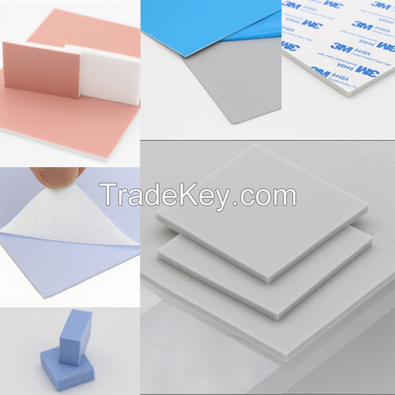 Silicone thermal conductive pad with 1.2~8w gap filler pad for CPU GPU heat sink