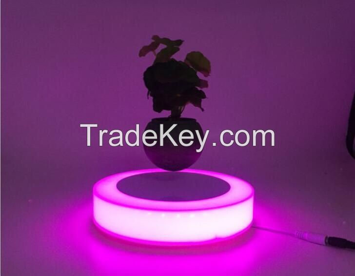 Plastic base magnetic floating air bonsai plant with led light