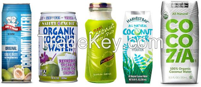 Canned fruit water, canned coconut water, canned pineapple water