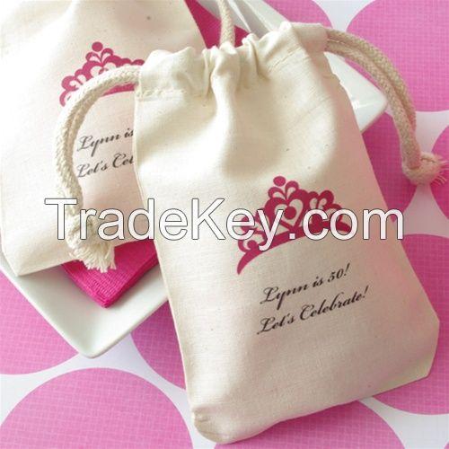 100% Cotton Muslin Bag/ Cotton Drawstring Bag/ Cotton Pouch