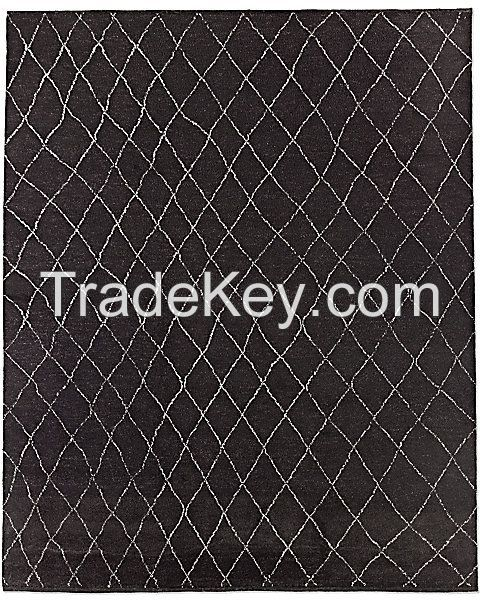 Dara Hand Knotted Moroccan Rug - Black (12' x 15')