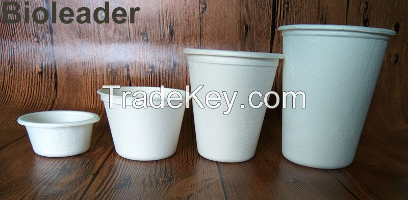 100% Eco-friendly 8oz/260mlHigh Quality 100% Biodegradable disposable take-away fast food packagingcup, paper pulp molded cup