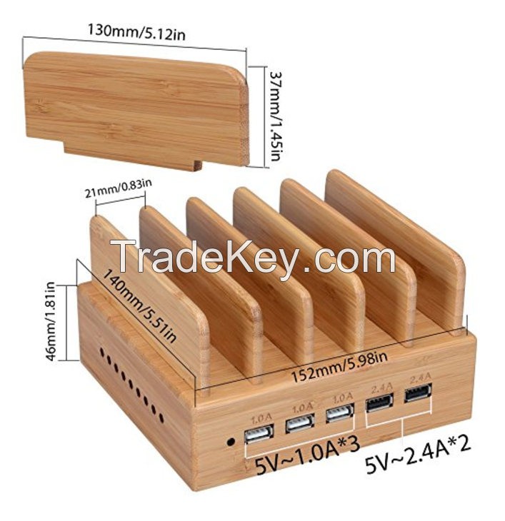 Yisen Wood Bamboo 5 Ports Dock Station for IOS Android Smart Phone and Tablet