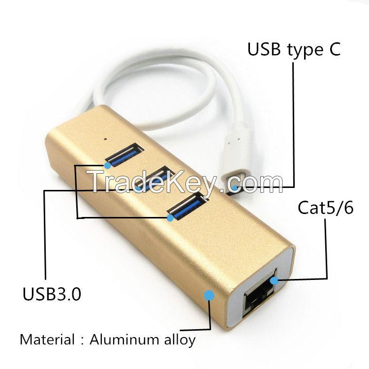 Gold aluminum alloy USB 3.1 RJ45 Cat5/6 type c to 3-port usb 3.0 hub for macbook