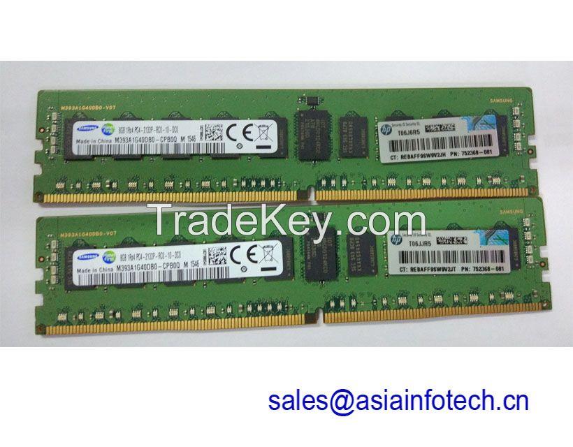 HPE 8GB (1x8GB) Single Rank x4 DDR4-2133 CAS-15-15-15 Registered Memory Kit 726718-B21 752368-081 G9 V3