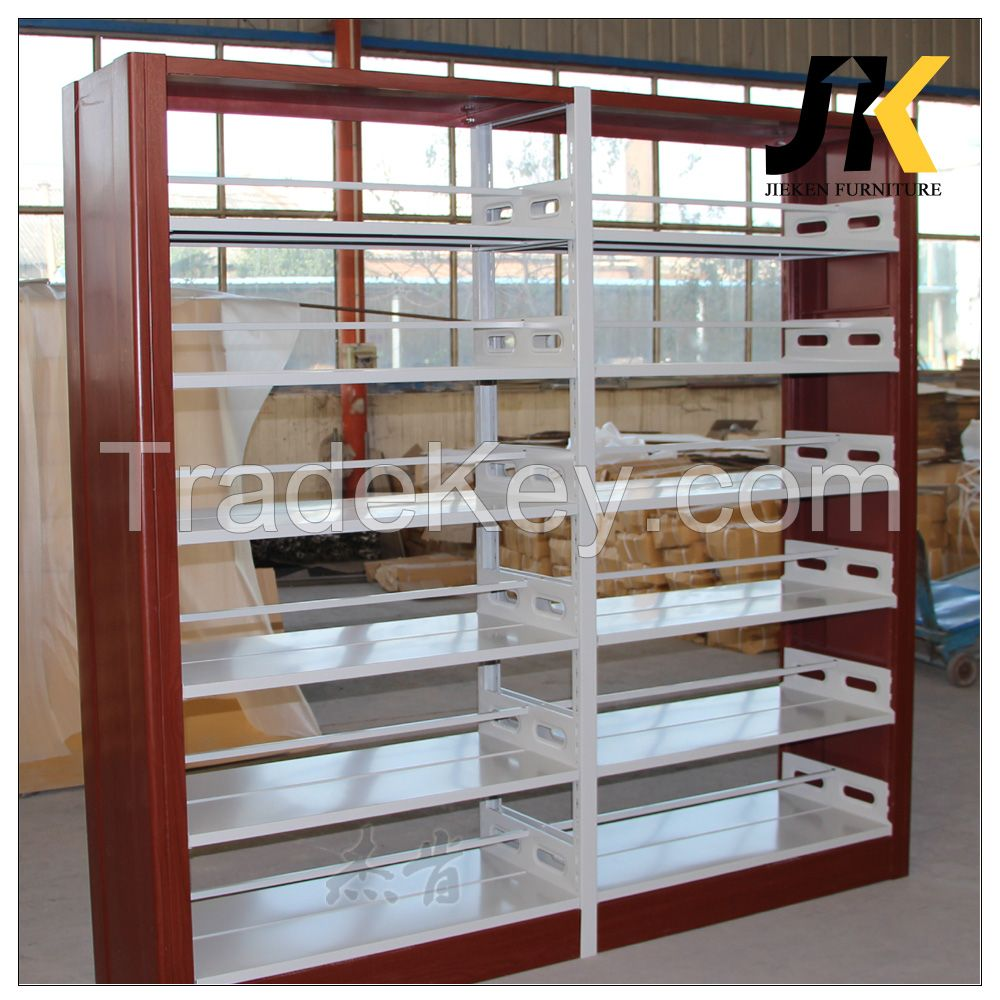 Double sided library metal book shelf
