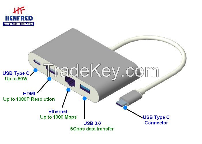 USB-C to HDMI + USB 3.0 + Ethernet + USB C Charger Dock