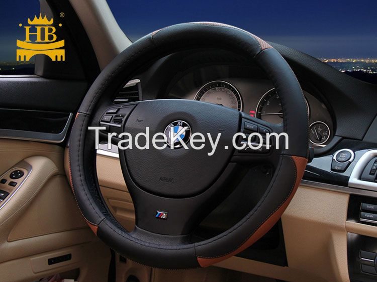 Factory direct genuine leather steering wheel cover for car decoration