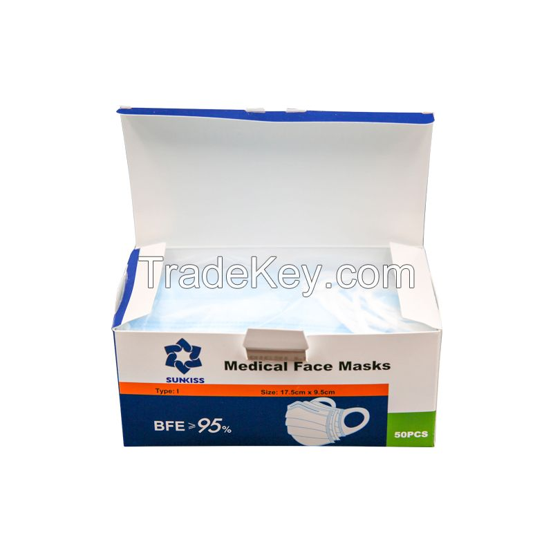 Disposable Medical 3 ply Non Woven Mask / Surgical Disposable Face Mask