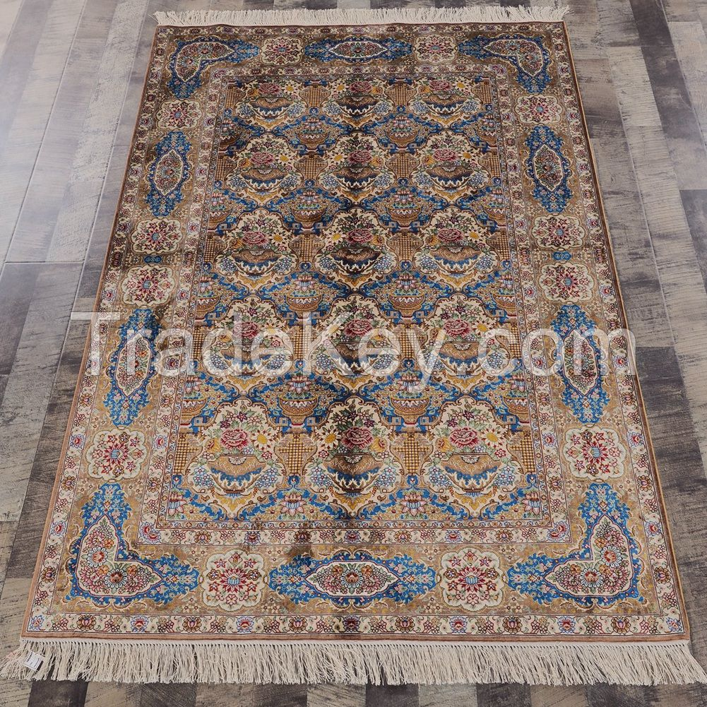 Yilong 4x6ft Hand Knotted Persian Silk Carpet Traditional Oriental Handmade Area Rugs