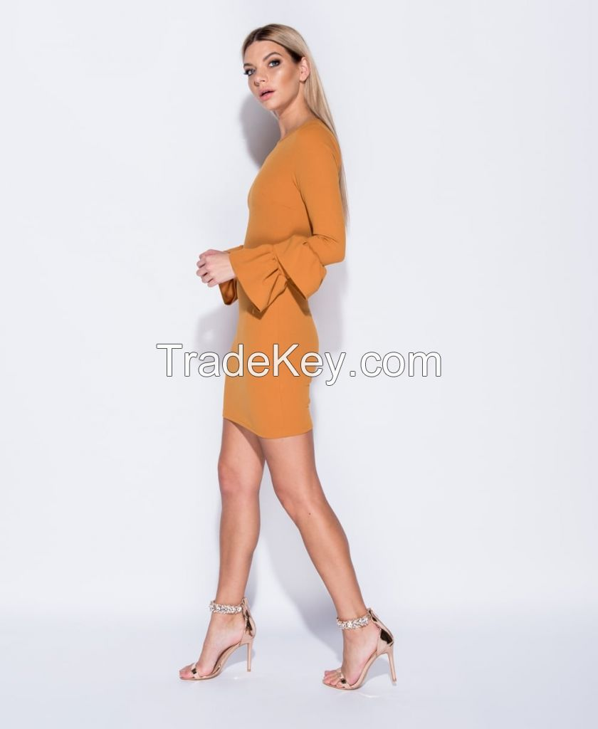 Multi Frill Sleeve Bodycon Dress - Mustard