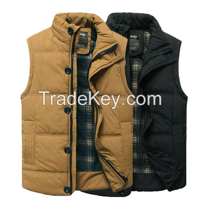Men's Vest Warm Black Waistcoat M-3XL Size Brand Clothing Cheap Wholesale