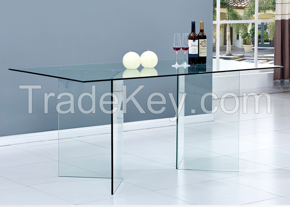 Fancy Clear Hot Bend Glass Dining Tables
