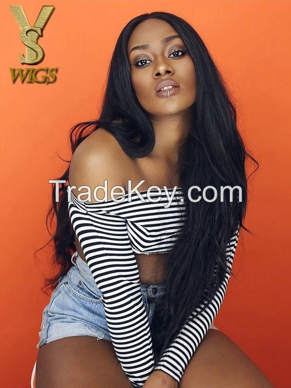 YSwigs Natural Wave Lace Front Human Hair Wigs Brazilian Remy Hair Wigs