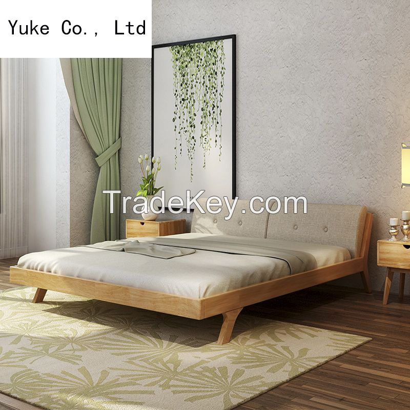 New popular design double bed wood bed