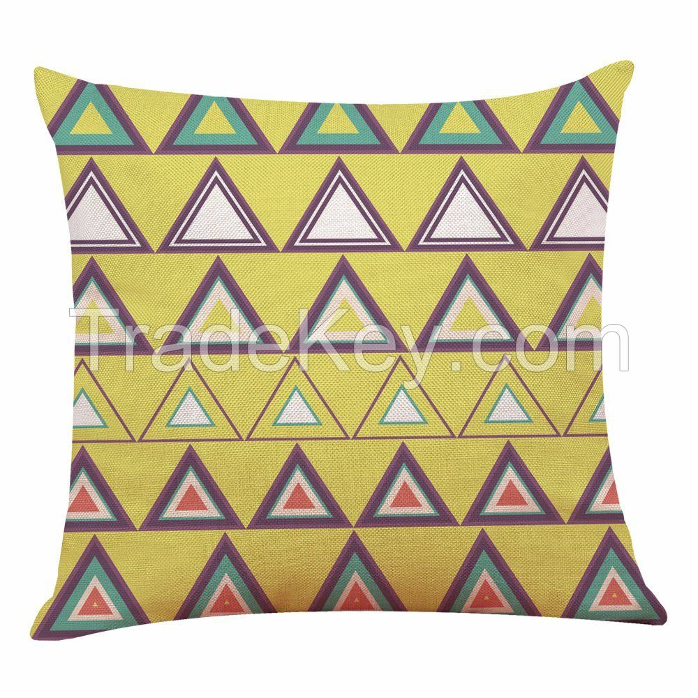 The Bright and Colorful Geometric Pillows Cotton Cushion