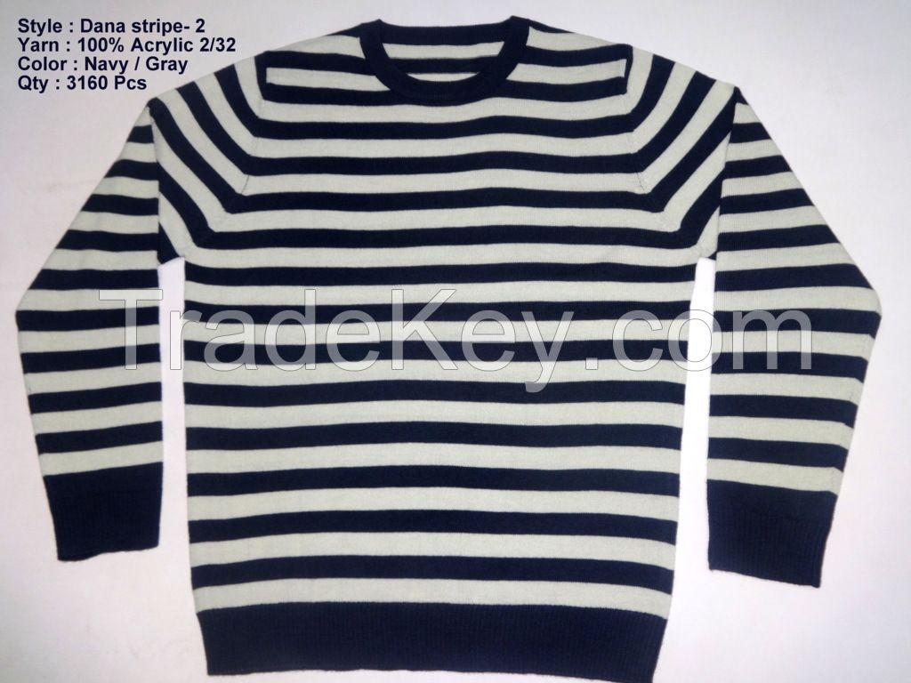 Men's L/S O-Neck Stripe Sweaters
